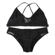 Sexy Mesh Bikini Bra Set Swimwear Women Padded Bra Beach Swimsuit Bathing Suit S-L