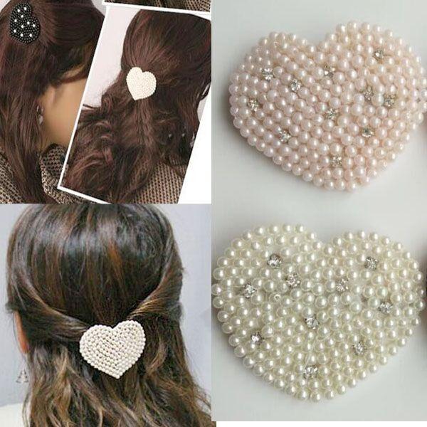 2016 fashion and elegant beauty Imitation pearls Peach Heart hair pins girl hair clips headwear for women hair accessories(China (Mainland))
