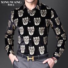 Camisa Casual Masculina Estampada Tigre