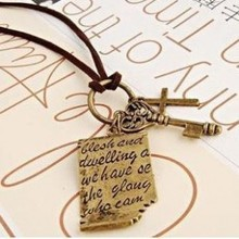 Retro English Books Stationery Bronze Love Letter Cross Key Pendant Leather Cord Necklace Sweater Chain Free shipping(China (Mainland))
