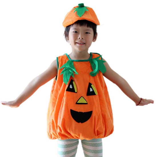 Halloween Costume Pumpkin Body Suit+hat Children Stage Performance Dressed Up Clothing Boy/girl Costume Party Supplies FE81(China (Mainland))
