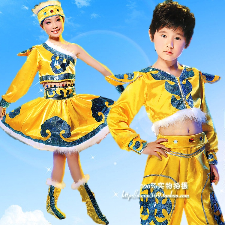 Child costume male female child costume costume national costumes performance wear hair accessory(China (Mainland))
