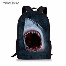 Twoheartsgirl מגניב הדפסת כריש סט עבור בית ספר תרמילי ילדי בני בנות תלמיד ילדים בית ספר תיק המוצ 'ילה Infantil Escolar(China)