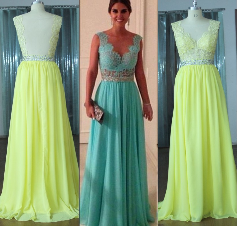 Emerald green yellow top lace transparent back formal evening dress