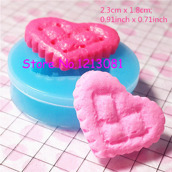 QYL005 Heart Cookie / Biscuit Silicone Mold Flexible Mold Miniature Food Jewelry Charms Resin Clay Paper Clay Fimo Gum Paste(China (Mainland))
