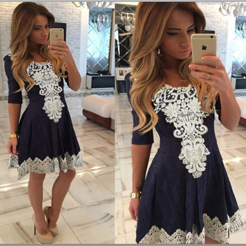 Hot Sale Womens Dresses A Line Lace Patched V Collar Half Sleeve Sexy Dress