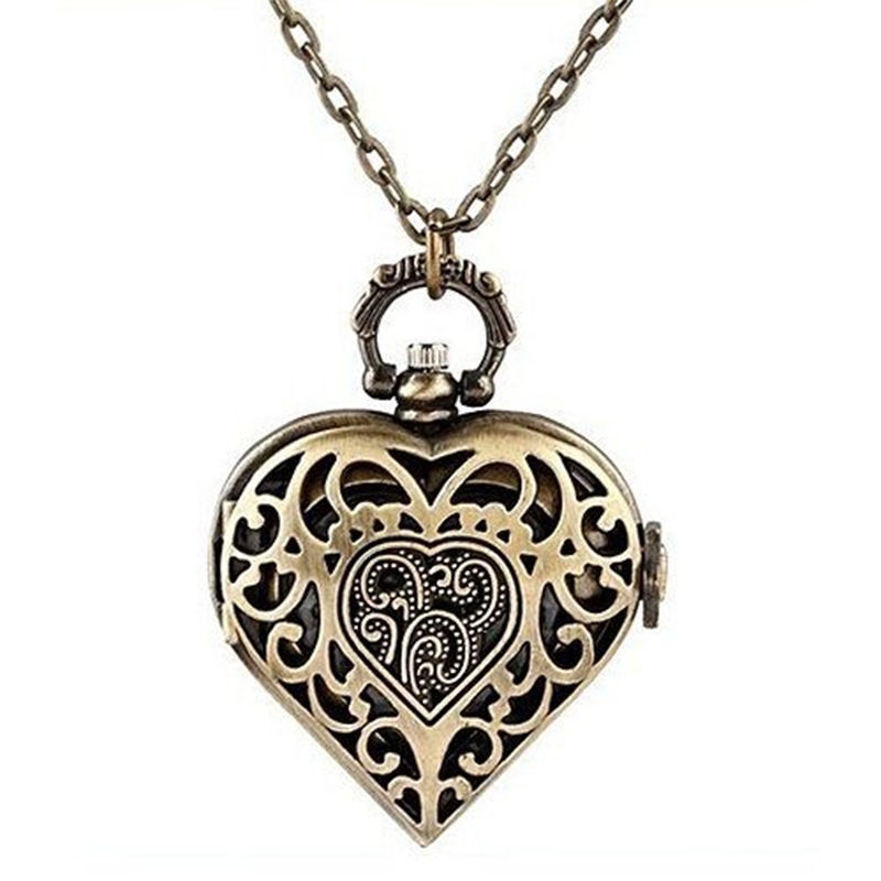 1 pc Antique Brass Necklace Pendant Skeleton Heart Lady Girl Quartz Pocket Watch Fashion(China (Mainland))
