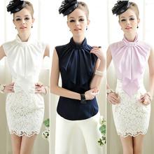 Spring Women Chiffon Blouse Chiffon Sleeveless Shirt Slim Elegant Stand Collar Chiffon Tops Back Zip Shirts Feminino Branco(China (Mainland))