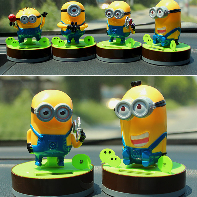 Car Solar Power Doll 2015 New Despicable Me Minions Toys Ornament Christmas Gift Despicable Me Doll Minion Brinquedo YJ0163(China (Mainland))