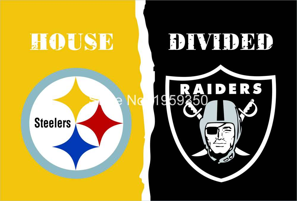 Pittsburgh Steelers vs Oakland Raiders House Divided Rivalry Flag 90x150cm metal grommets(China (Mainland))