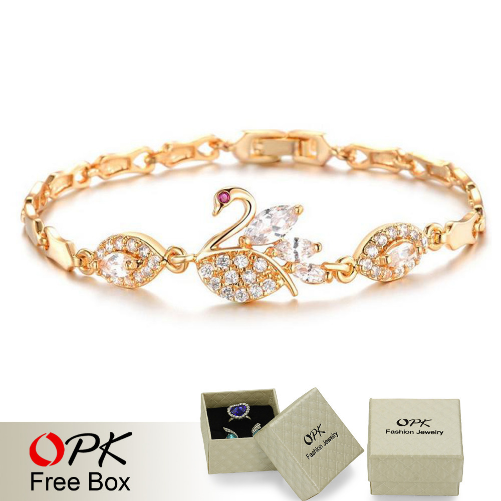 OPK Luxury AAA Zircon Crystal Women Bracelets Elegant Swan Design 18K Gold Plated Link Chain Vogue Jewelry Romantic Gift 440(China (Mainland))