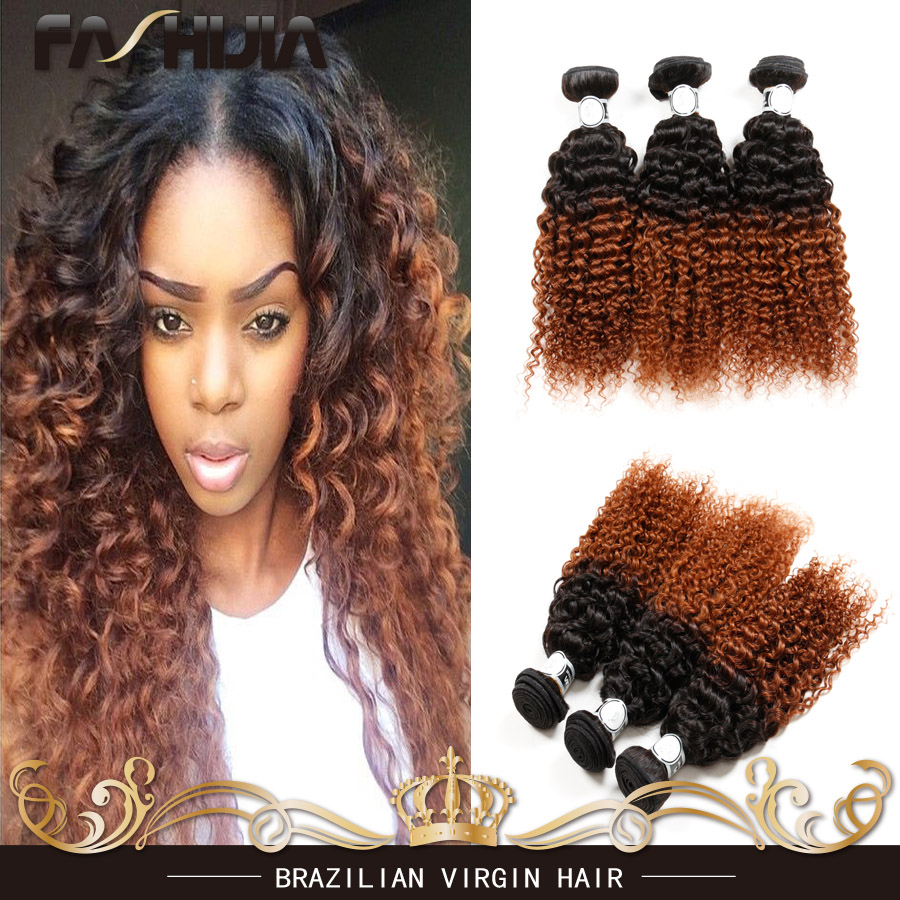 Brazilian Curly Ombre Hair Extensions 4 Bundles Two Tone Virgin Human Hair  Curly Ombre Hair Weave brazilian virgin curly weaves