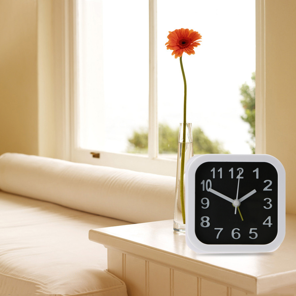 Modern Small Square Alarm Clock Desk Table Desktop Time Clock Simple Style Home Office Decoration reloj despertador White+Black