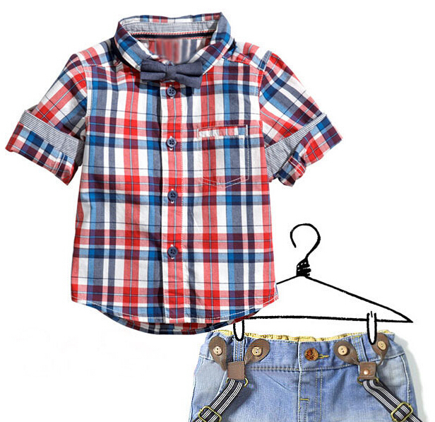 2015 New Arrival The new blasting boy checked shirt sleeve + denim straps shorts in the summer wholesale manufacturers(China (Mainland))