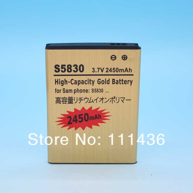 Sample Cheaper 2450mAh Replacement Gold Battery For Samsung Galaxy Ace S5830 High Capacity  quality guarantee  Freeshipping