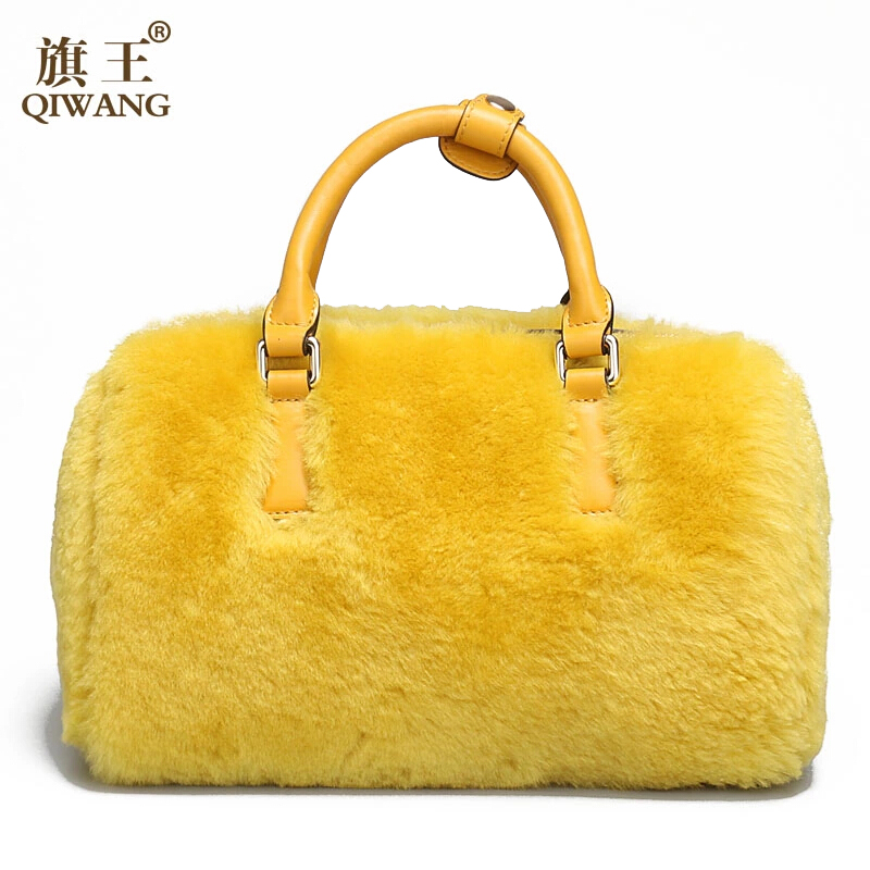 QIWANG Famous Brand Genuine Leather Bag 2015 Autumn And Winter Fashion Fur Portable Women Bag Wild Solid Shoulder Messenger Bags<br><br>Aliexpress