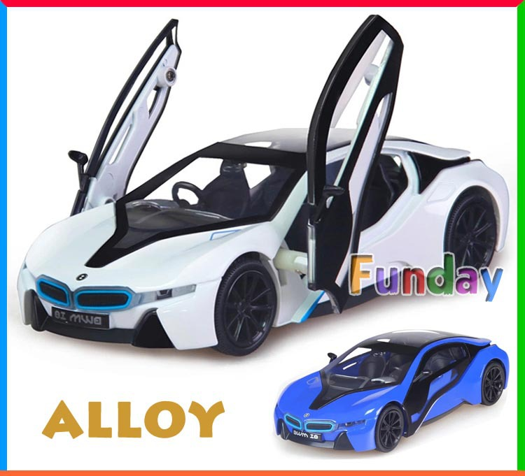 Free Ship Metal Alloy Diecast 1:32 i8 Scale Model Luxury Concept Sport Car Toy Vehicle Miniature Sound Light Kids Boys Toy(China (Mainland))