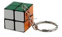 New Keychain 2X2X2 24mm Black Magic Cube Keychain 2X2 mini Magic cube puzzle