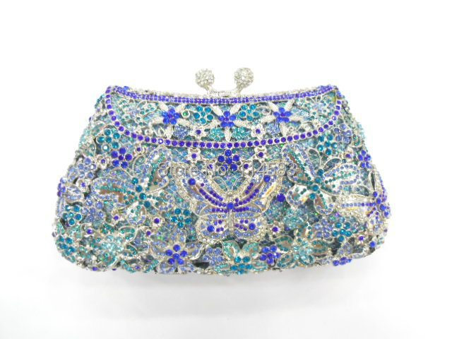 8249B Crystal BUTTERFLY Flower Floral Bridal Party hollow Metal Evening purse clutch bag handbag case<br><br>Aliexpress