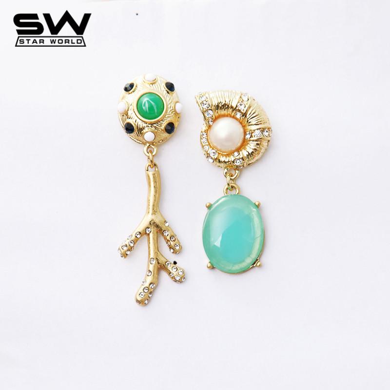 Cute Designer Luxury Snail Branch Crystal Green Long Vintage Asymmetric Drop Earrings For Women JE022(China (Mainland))