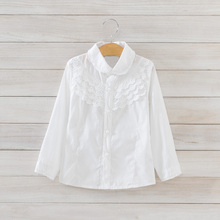 Girls White Blouse 100 Cotton Lace School Girl Blouse For Girls Long Sleeve Shirts Spring Autumn