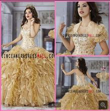 2016 new design winter ball gown prom dress ruffled quinceanera gowns beading strapless with jackets modest prom dresses(China (Mainland))