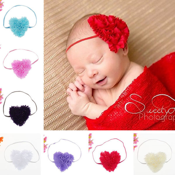 New Infant Cute Fashion Hair Accessories Headwear Tiara Sweet Shabby Heart Skinny Hairband Baby Headband Girls Photo Prop(China (Mainland))