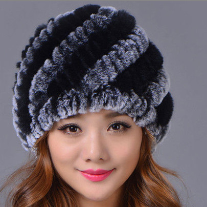 Winter Cute Casual Splice Thick Warm Faux Rex Rabbit Fur Hats Women Skullies Retro Elegant Female Luxury Knitted Fur Hats V659(China (Mainland))