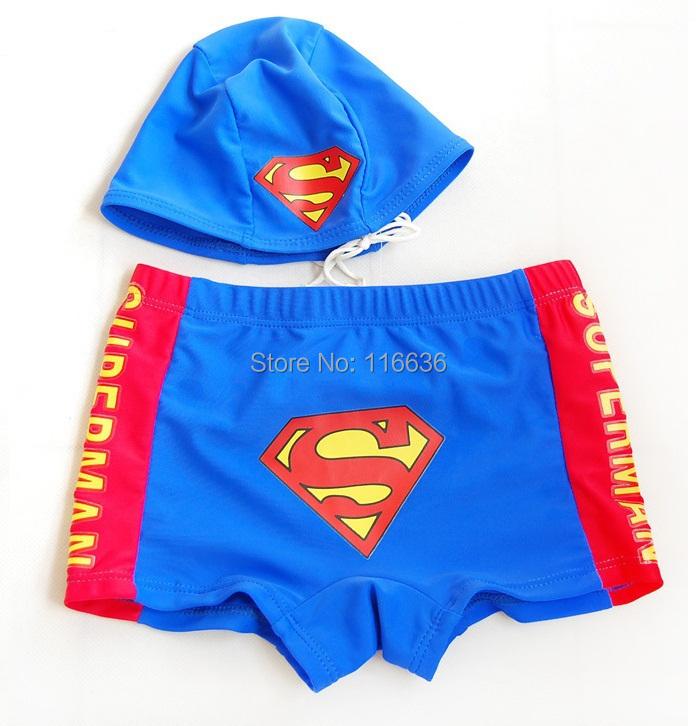 Младенцы мальчика 2 шт. комплект ( шляпа + тяжелое дыхание ) супермэн Swiming