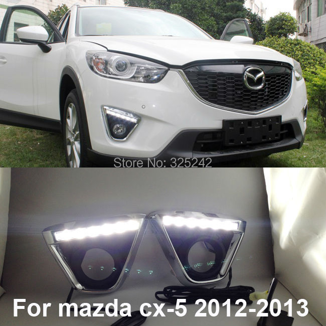 Excellent Plating frame Ultra-bright Led Fog Light Lamp for Mazda CX-5 2012-2013,LED illumination DRL Beautiful !<br><br>Aliexpress