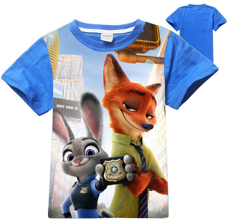 2016 new summer children's clothing boys zootopia tees; T-shirts for girls; boys clothes; kikikids T shirts; kids tops for 4-12T(China (Mainland))
