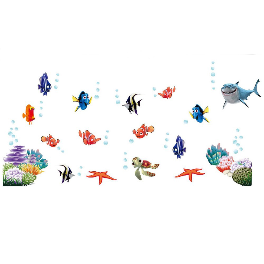 2015 New Cartoon Ocean Fishes For Kids Wall Stickers Child Stickers Wall Decals Vinyl Stickers Home Decor(China (Mainland))