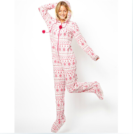 2014 Autumn Hooded & Footed Pajamas Women Adult Pink ...