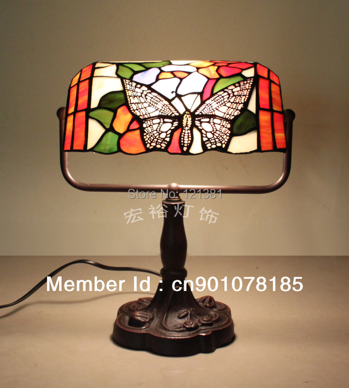 vintage tiffany style table lamp bankers lamp stained glass bedside. Black Bedroom Furniture Sets. Home Design Ideas