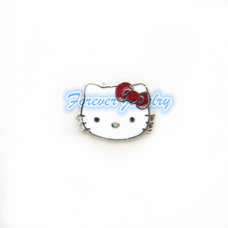 Hot selling enamel red hello kitty floating charms living glass memory lockets for diy jewelry(China (Mainland))