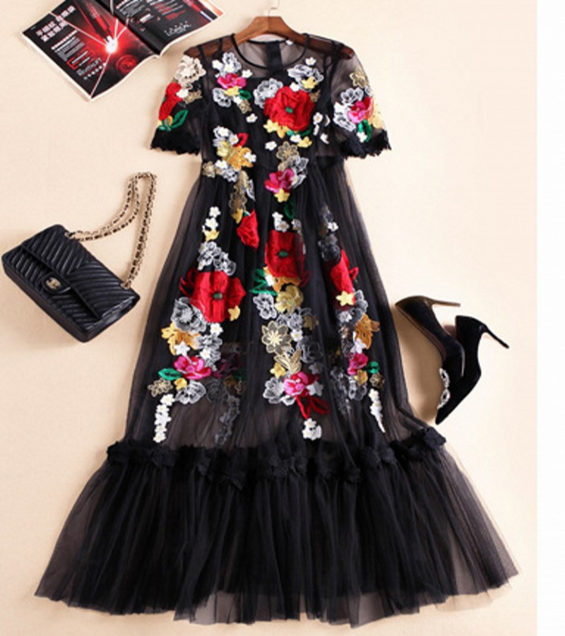 The new Europe and the United States womens 2016 spring The runway looks heavy net yarn embroidered flower long dressОдежда и ак�е��уары<br><br><br>Aliexpress