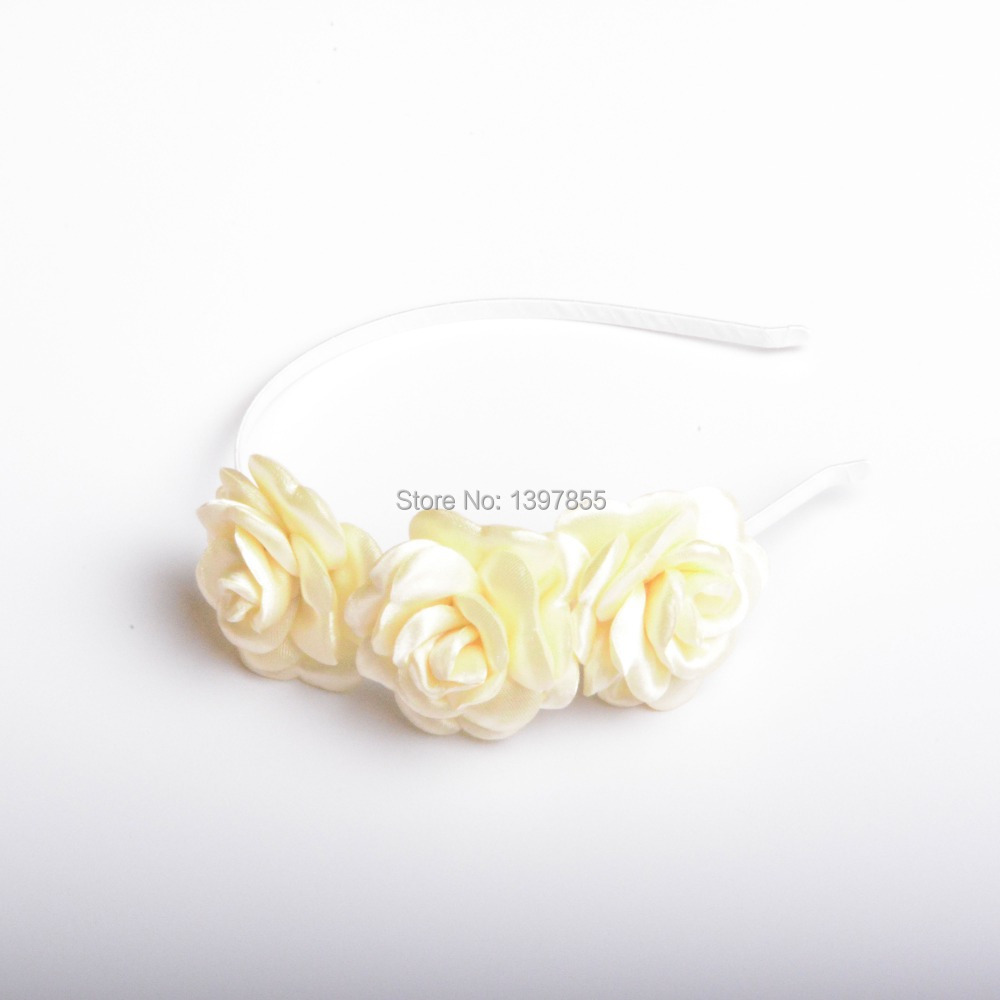 New Fashion Hot Sale Light Beige Rose Flowers style Polyester Headband for Women Girls Children Kids Baby(China (Mainland))