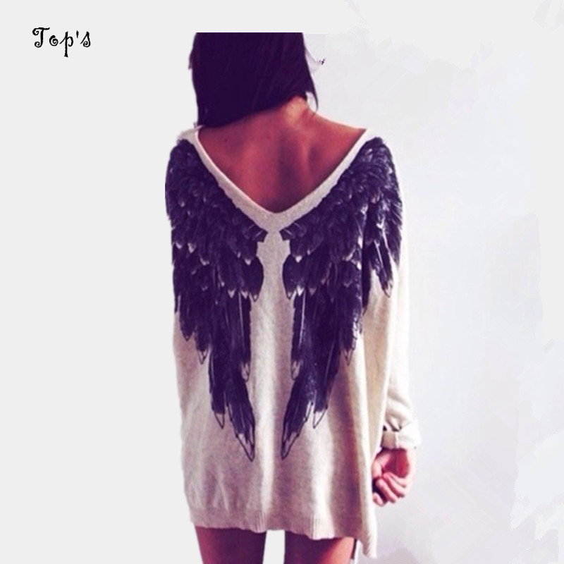 2016 Spring Latest New Design Fashion Unique Women White V-neck Angel Wings Loose Jumper Knitted Sweater Pullover Pull Femme(China (Mainland))
