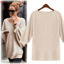 Women Pullover Winter Sweaters 2016 Long Plus Size christmas O-neck Batwing Sleeve Loose Casual Tops Sweater SV029205(China (Mainland))