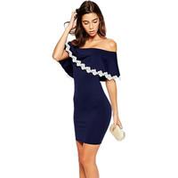 새로운 여름 여성 드레스 2015 끈이 bardot 슬래시 bodycon 드레스 레이스 트림 우아한 파티 드레스 vestido feminino LC22026