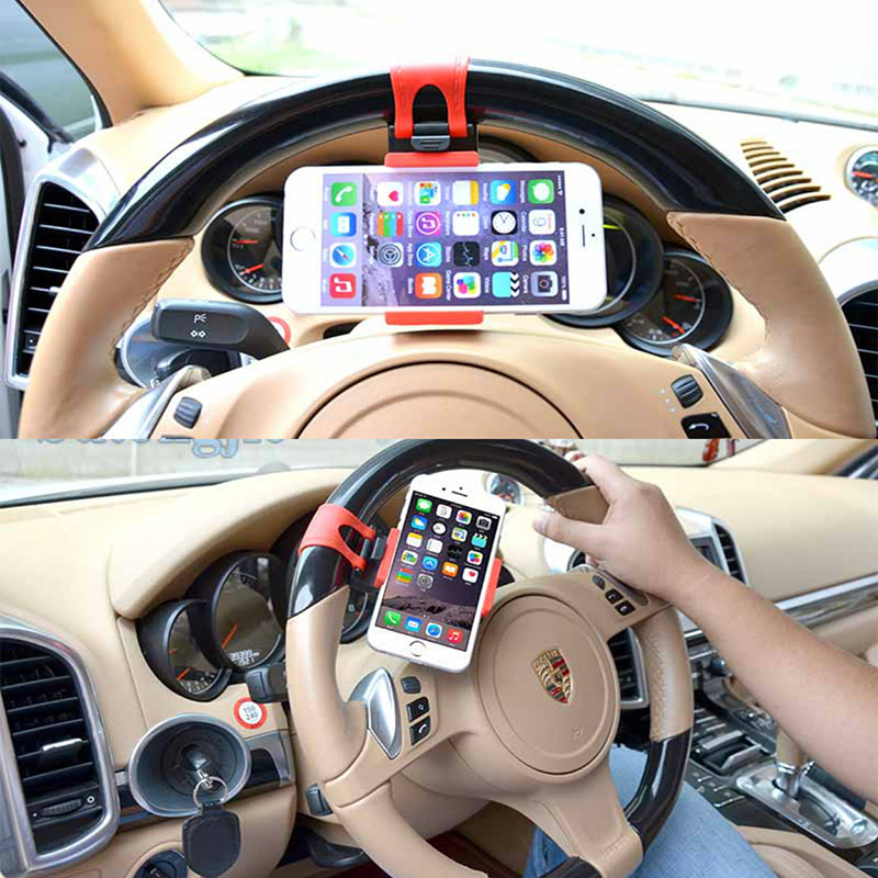Universal Car Steering Wheel Mobile Cell Phone Holder For iphone 6 5c 5s 4s s / sony xperia m2 / huawei honor samsung galaxy s4(China (Mainland))