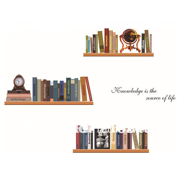 [Saturday Monopoly] diy vintage home decor creative bookshelves wall stickers decorative adesivos para parede wall book shelf(China (Mainland))