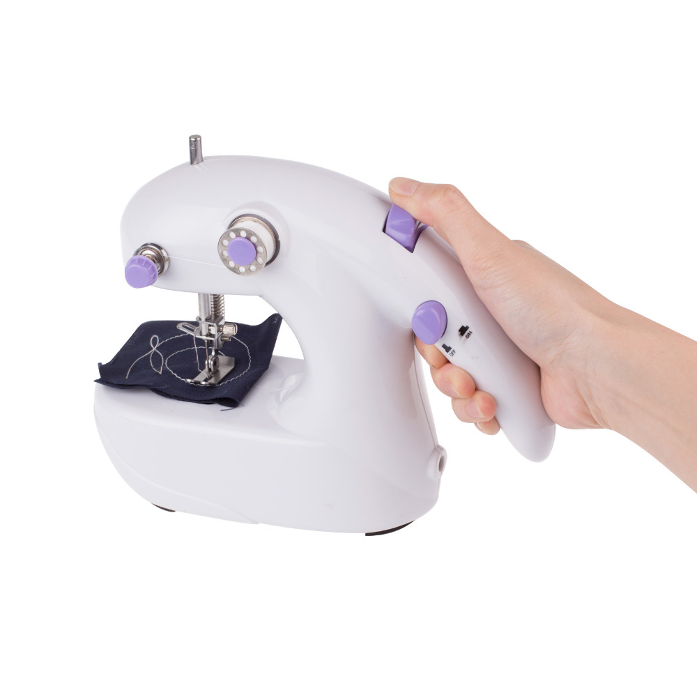 Mini Portable Hand Held Electric Sewing Machine Desk Top Household Battery / AC power with High-low 2 Speed(China (Mainland))