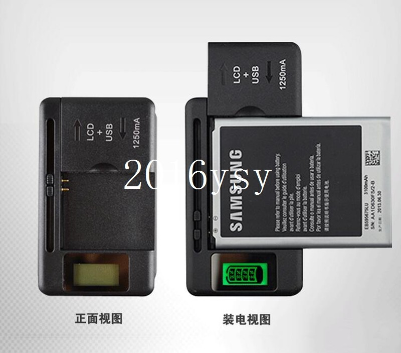 100pcs/lot High Quality NEW Universal LCD Mobile Cell Phone Battery Wall Travel Charger with USB Port