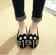 Free Shipping 2015 Women's shoes personality the cat dog shoes velvet flat comfortable flats shoes