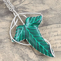 OnSello LOTR Aragorn Elven Green Leaf Broach Pendant Pin Necklace Frodo + Gift Pouch