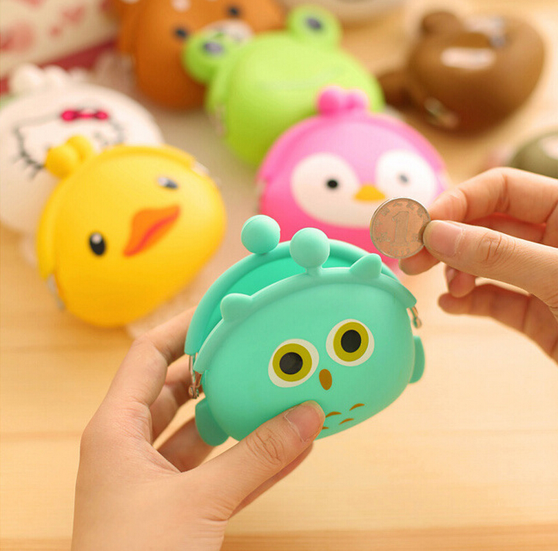 Radomly Send Fashion Cartoon Animal Cat Duck Design Coin Purses Candy Colors Cute Key bag Ladies Silicone Wallet VQB30(China (Mainland))