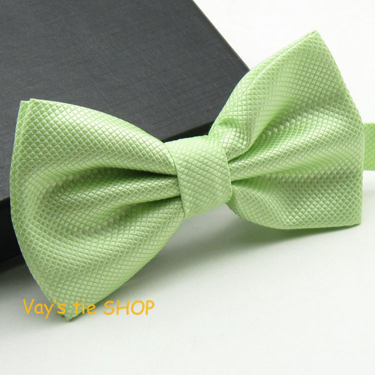 2014 New XMAS Gift Mens Fashion Dull Jacquard Plaid Grid Leisure Solid Bowtie Wedding Tuxedo Bow Ties Free shipping Light Green(China (Mainland))