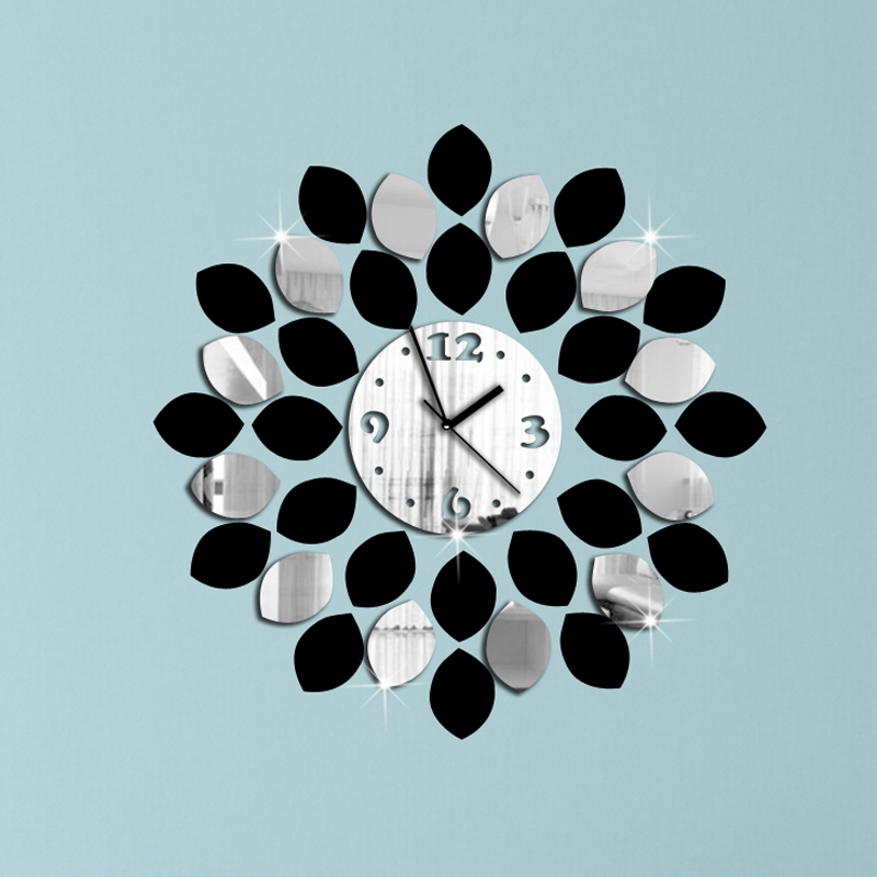 3big leaf black silver wall clock modern design luxury mirror clock,3d crystal clocks,! - Alisa Ge's store