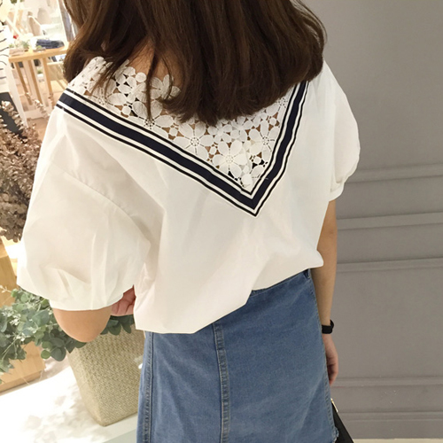 Mihoshop Ulzzang Korean Korea Women Fashion Clothing all-match set loose head neckline lace stitching short sleeved shirt D05